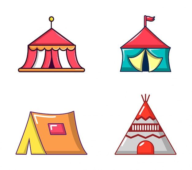 Conjunto de iconos de carpa. conjunto de dibujos animados de iconos de vector carpa conjunto aislado Vector Premium