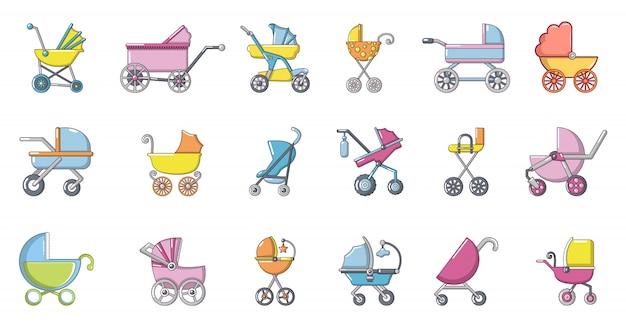 Conjunto de iconos de carro de bebé. conjunto de dibujos animados de iconos de vector de carro de bebé conjunto aislado Vector Premium