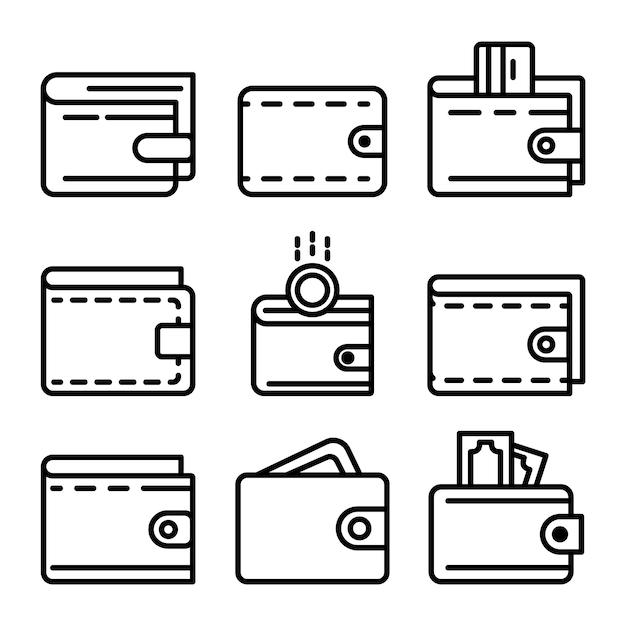 Conjunto de iconos de cartera, estilo de contorno Vector Premium