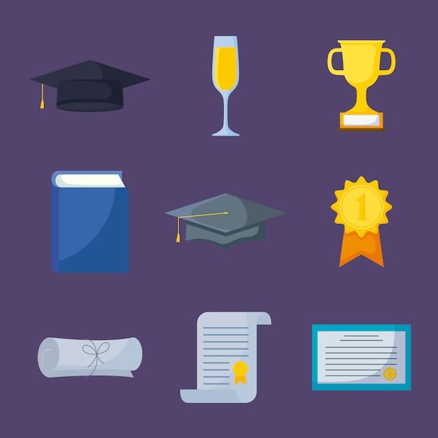 Conjunto de iconos de celebración de graduación Vector Premium