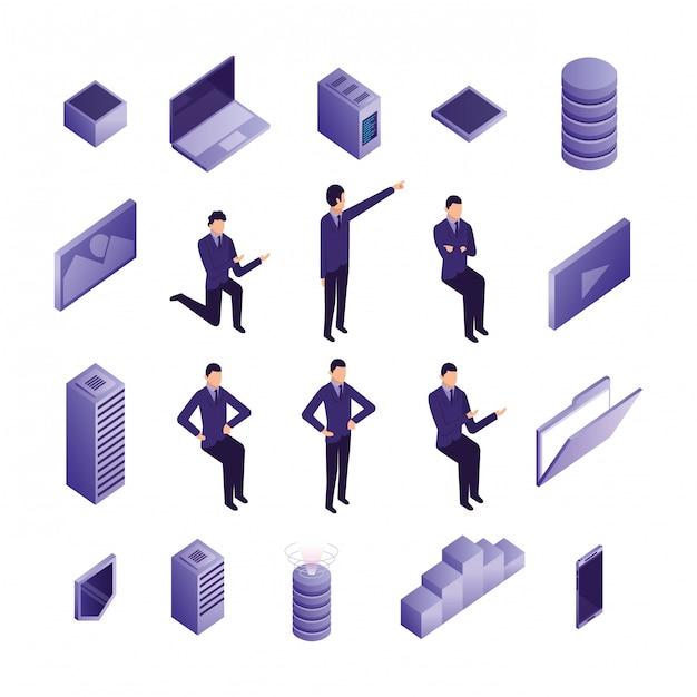 Conjunto de iconos de centro de datos y gente de negocios vector gratuito