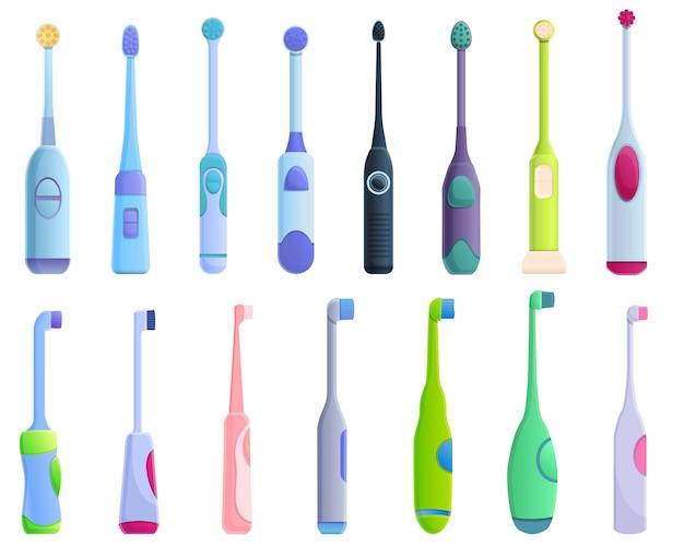 Conjunto de iconos de cepillo de dientes eléctrico, estilo de dibujos animados Vector Premium