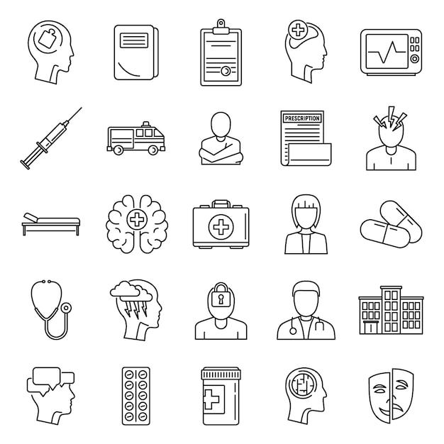 Conjunto de iconos de cerebro mental hospital Vector Premium
