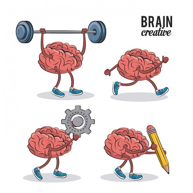Conjunto de iconos de cerebros humanos Vector Premium