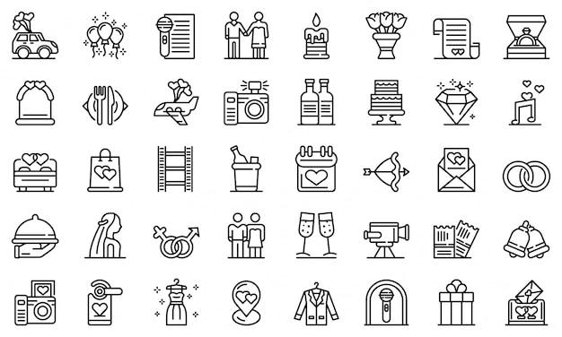 Conjunto de iconos de ceremonia de boda, estilo de contorno Vector Premium