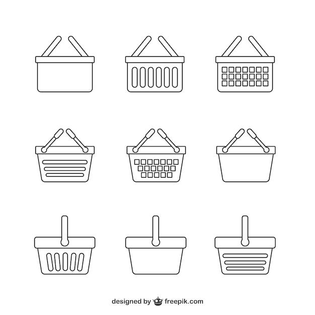 Conjunto de iconos de cesta de la compra vector gratuito