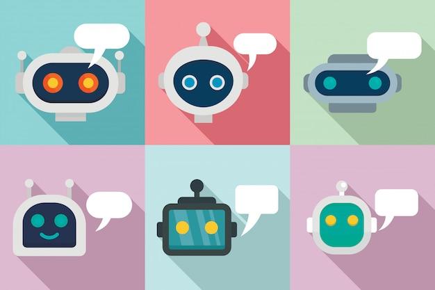 Conjunto de iconos de chatbot, estilo plano Vector Premium