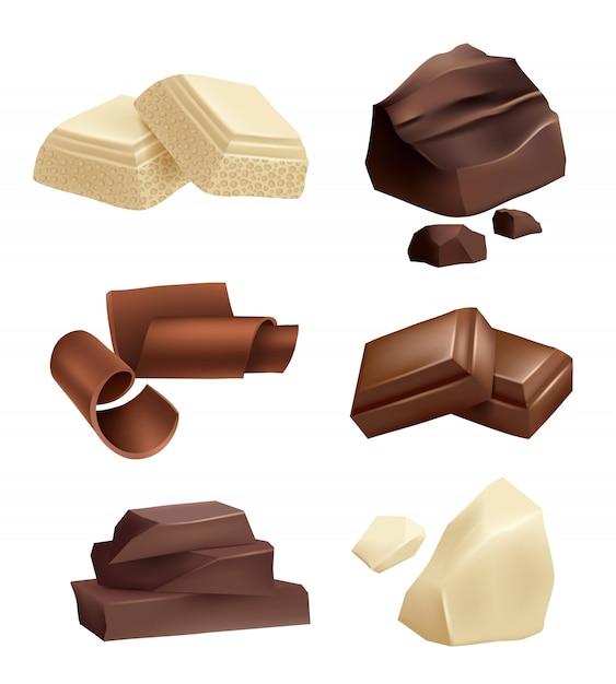 Conjunto de iconos de chocolate. fotos realistas de varios tipos de chocolate. Vector Premium
