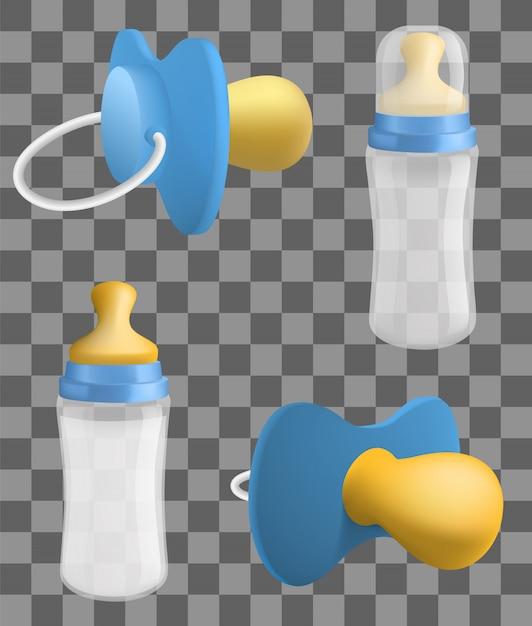 Conjunto de iconos de chupete, estilo realista Vector Premium
