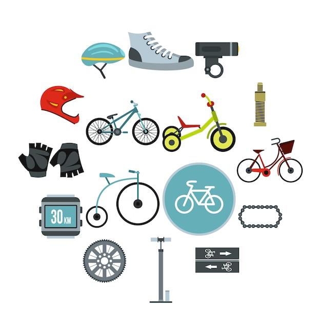 Conjunto de iconos de ciclismo, estilo plano Vector Premium