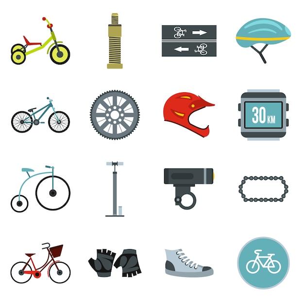 Conjunto de iconos de ciclismo Vector Premium