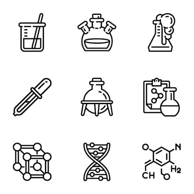 Conjunto de iconos de la ciencia biología. esquema conjunto de 9 iconos de biología ciencia Vector Premium