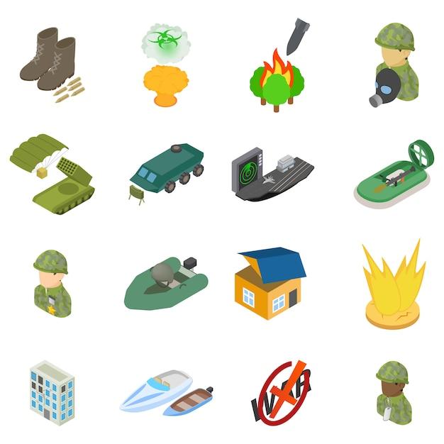 Conjunto de iconos de la ciencia militar Vector Premium