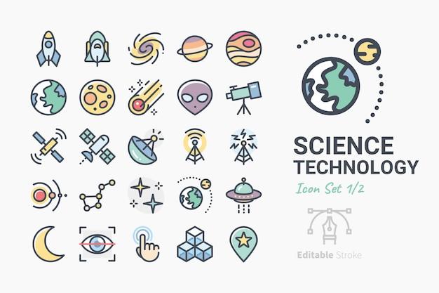 Conjunto de iconos de ciencia y tecnología Vector Premium