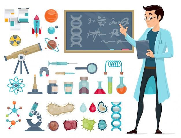 Conjunto de iconos científicos vector gratuito