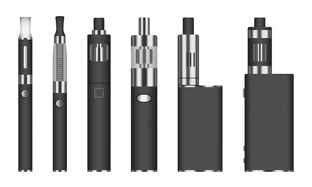Conjunto de iconos de cigarrillo electrónico, estilo realista Vector Premium