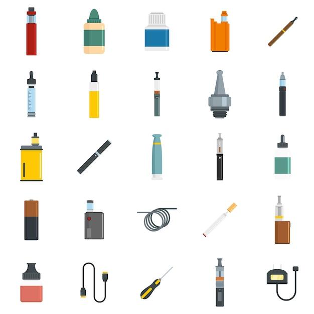 Conjunto de iconos de cigarrillo electrónico mod cig Vector Premium