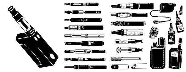 Conjunto de iconos de cigarrillos electrónicos Vector Premium