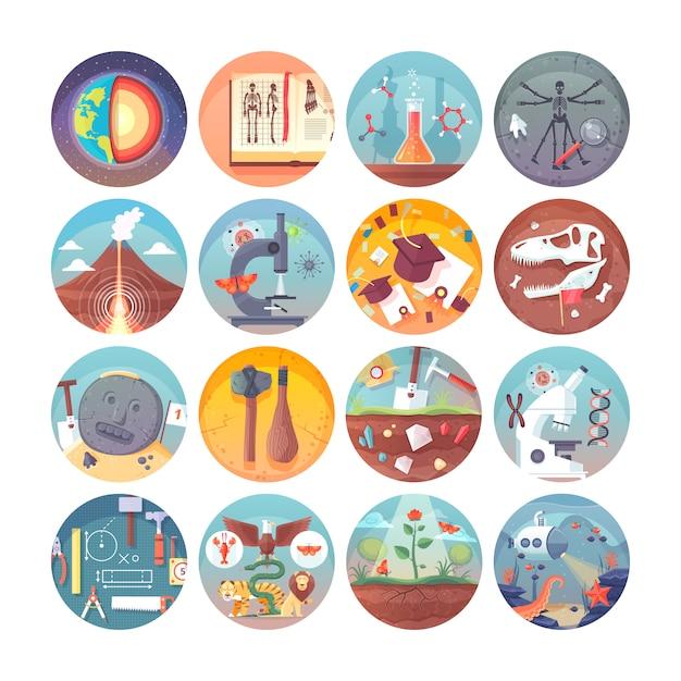 Conjunto de iconos de círculo de educación y ciencia. sujetos y disciplinas científicas. colección de iconos Vector Premium