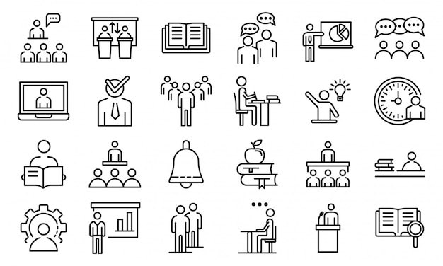 Conjunto de iconos de clase magistral, estilo de contorno Vector Premium