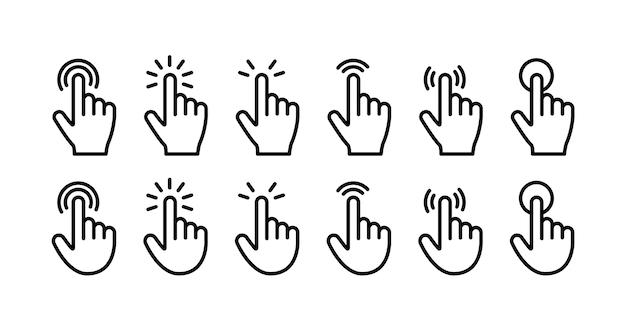 Conjunto de iconos de clic de dedo índice. estilo de línea. Vector Premium