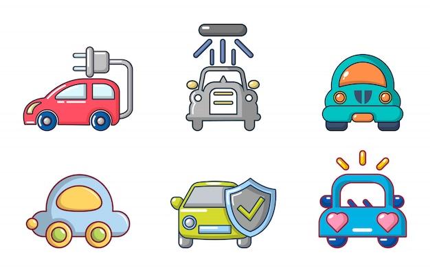Conjunto de iconos de coche. conjunto de dibujos animados de conjunto de iconos de vector de coche aislado Vector Premium