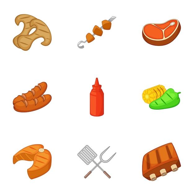 Conjunto de iconos de cocina camping, estilo de dibujos animados Vector Premium