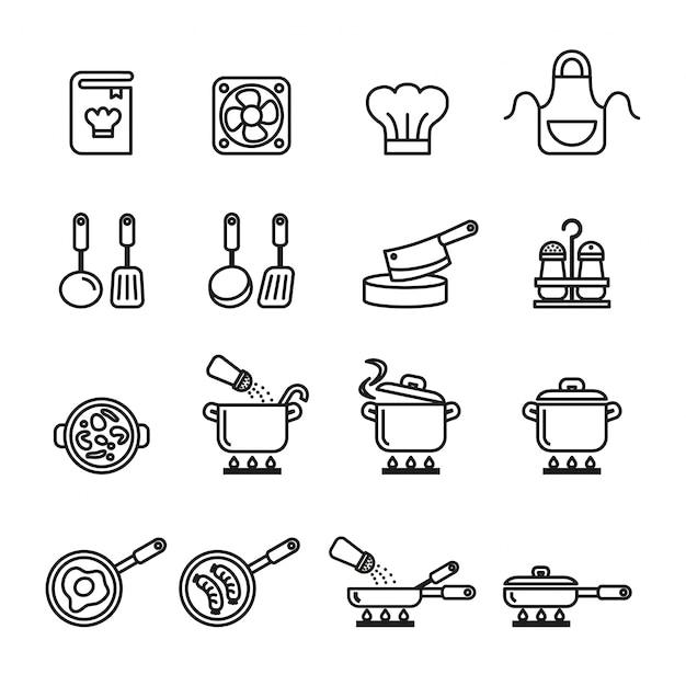 Conjunto de iconos de cocina, utensilios de cocina y utensilios Vector Premium