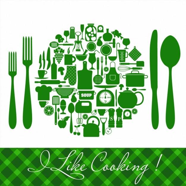 Conjunto de iconos de cocina verdes vector gratuito