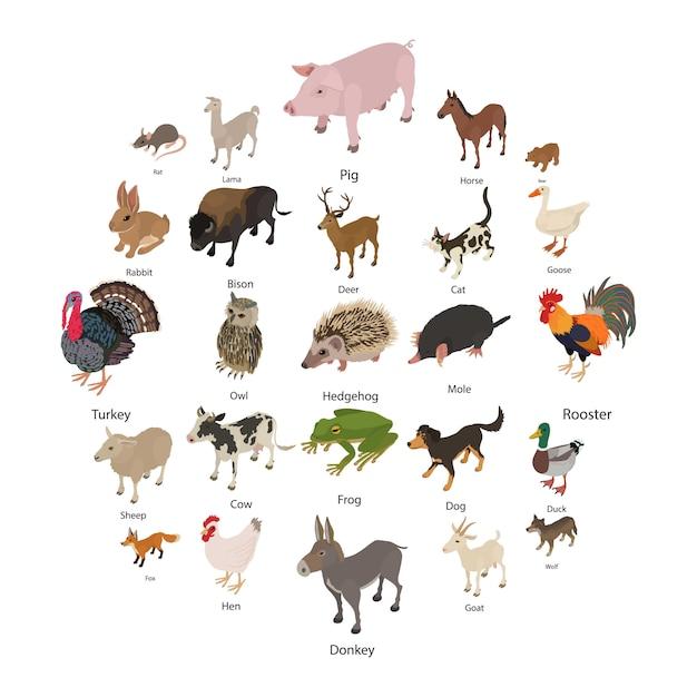 Conjunto de iconos de colección de animales, estilo isométrico Vector Premium