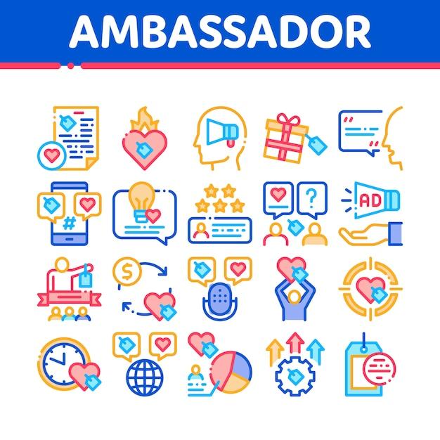Conjunto de iconos de colección creativa embajador Vector Premium