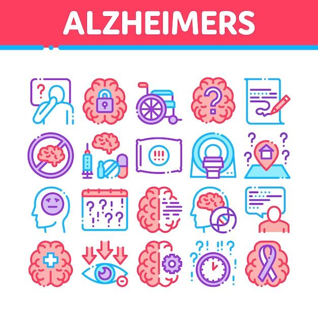 Conjunto de iconos de colección de enfermedad de alzheimer Vector Premium