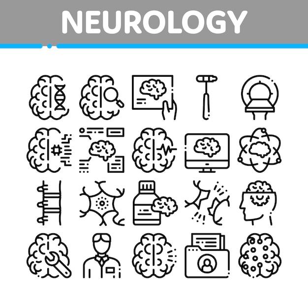 Conjunto de iconos de colección de medicina de neurología Vector Premium