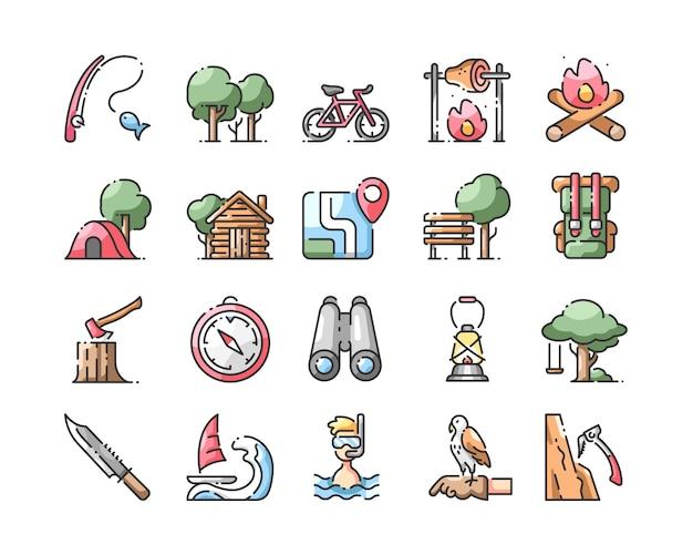 Conjunto de iconos de color de línea de activitis al aire libre ...