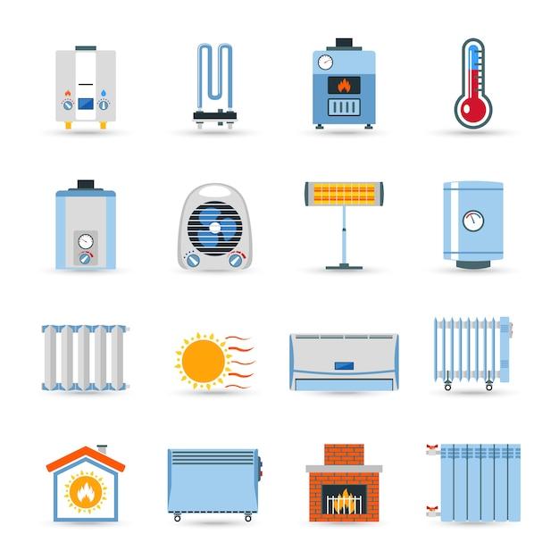 Conjunto de iconos de color plano de calefacción vector gratuito
