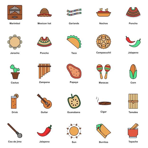 Conjunto de iconos de colores de la cultura mexicana. festival del cinco de mayo Vector Premium