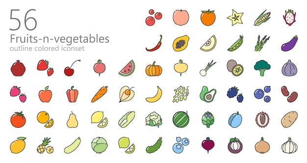 Conjunto de iconos de colores de frutas y verduras Vector Premium