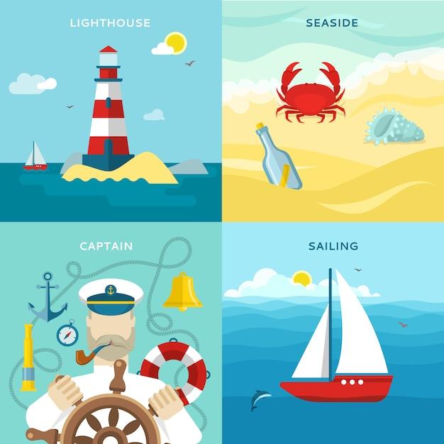 Conjunto de iconos de colores náuticos vector gratuito