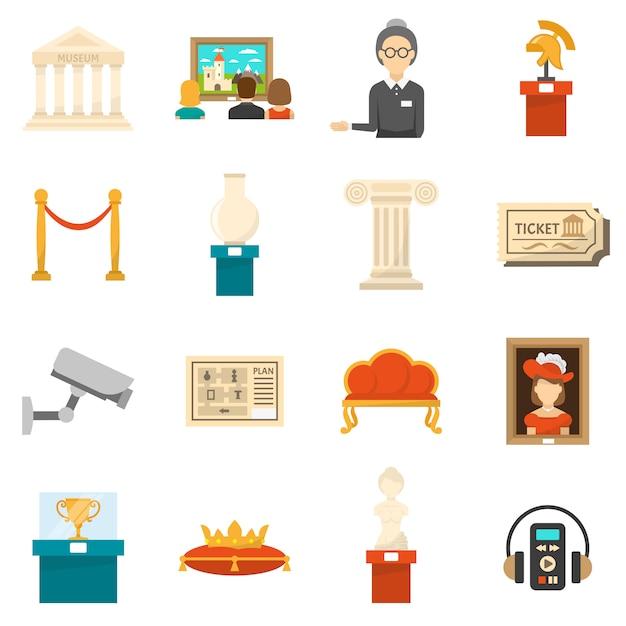 Conjunto de iconos de colores planos decorativos del museo vector gratuito
