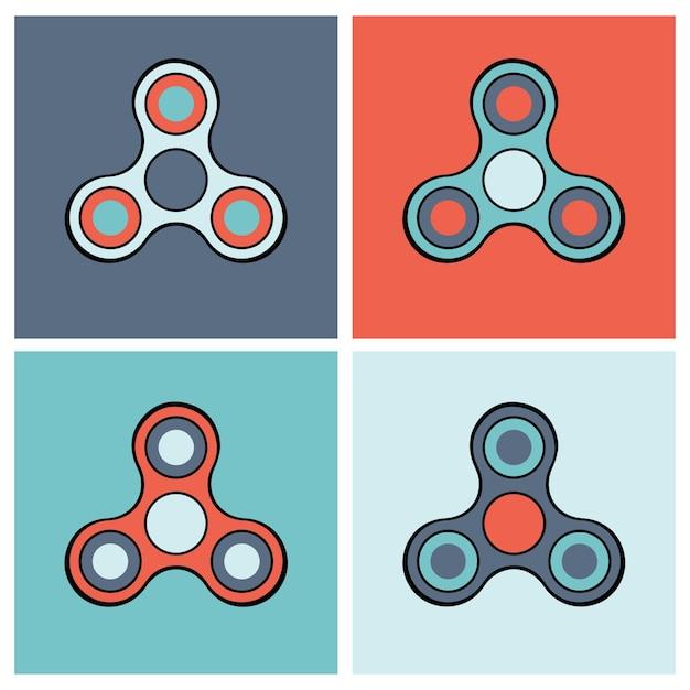 Conjunto de iconos de colores de spinner de mano vector gratuito