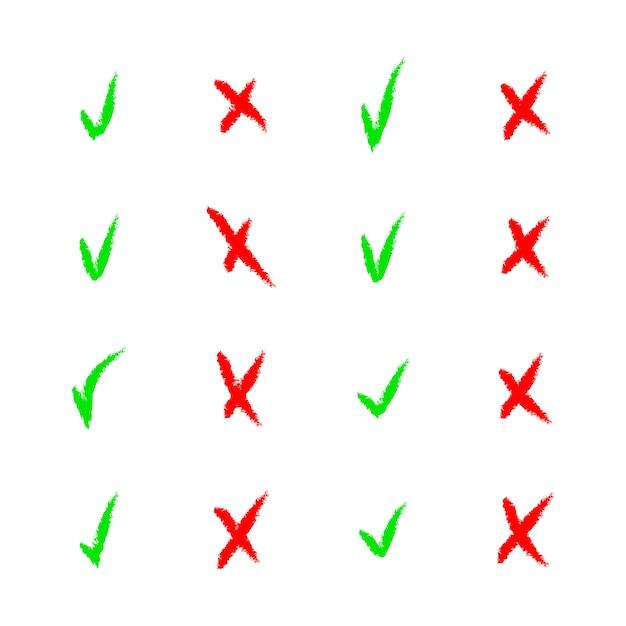 Conjunto de iconos coloridos de marca de verificación y cruz en blanco Vector Premium
