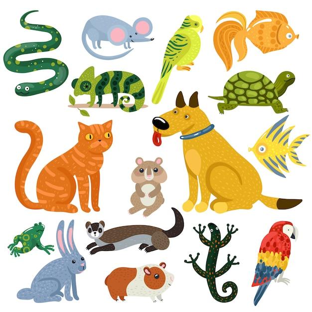 Conjunto de iconos coloridos mascotas vector gratuito