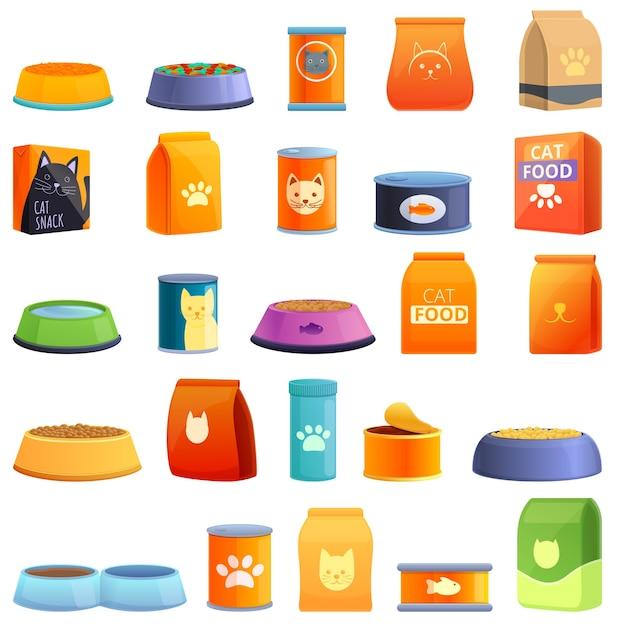 Conjunto de iconos de comida para gatos. conjunto de dibujos animados de iconos de comida para gatos para web Vector Premium