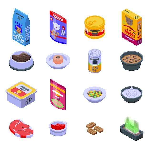 Conjunto de iconos de comida para gatos. conjunto isométrico de iconos de comida para gatos para web aislado sobre fondo blanco Vector Premium