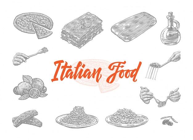Conjunto de iconos de comida italiana dibujados a mano vector gratuito