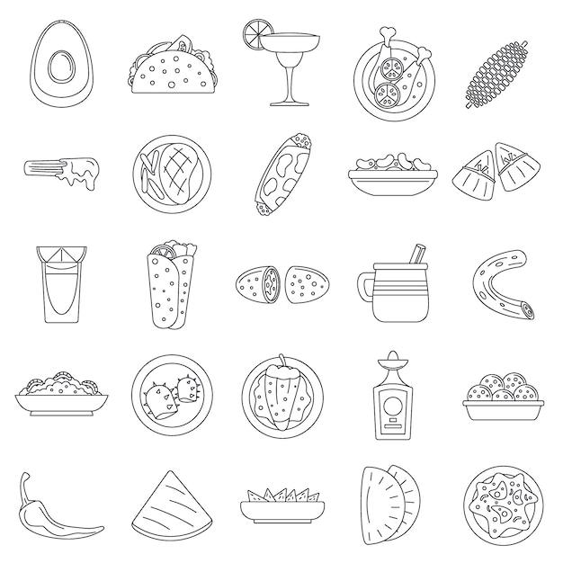 Conjunto de iconos de comida mexicana saludable Vector Premium