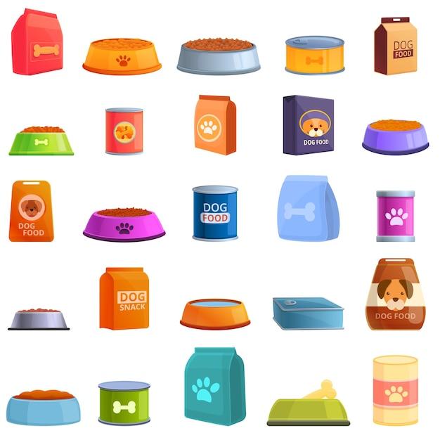 Conjunto de iconos de comida para perros. conjunto de dibujos animados de iconos de comida para perros para web Vector Premium