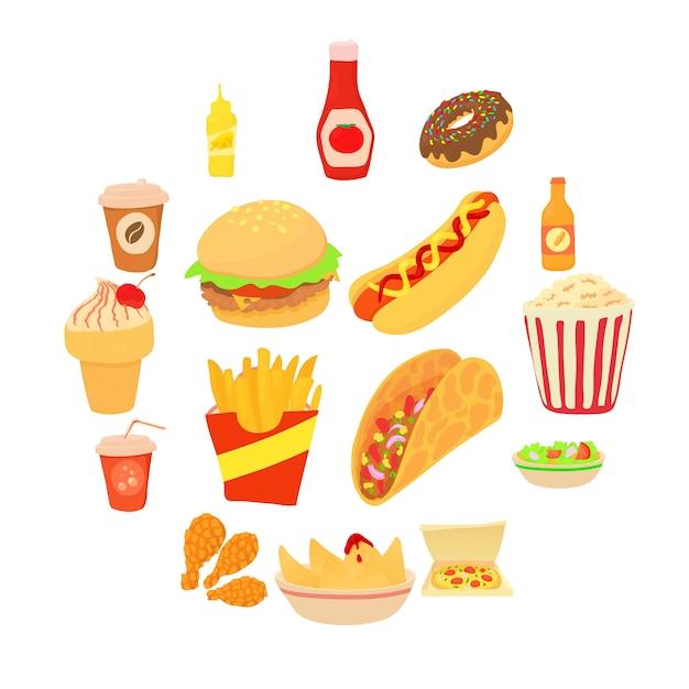 Conjunto de iconos de comida rápida, estilo de dibujos animados Vector Premium