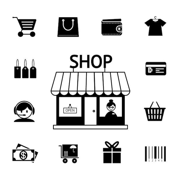 Conjunto de iconos de compras vectoriales en blanco y negro con un carro, carrito, billetera, tarjeta bancaria, tienda, dinero, regalo, entrega y código de barras que representa el consumismo y las compras minoristas vector gratuito