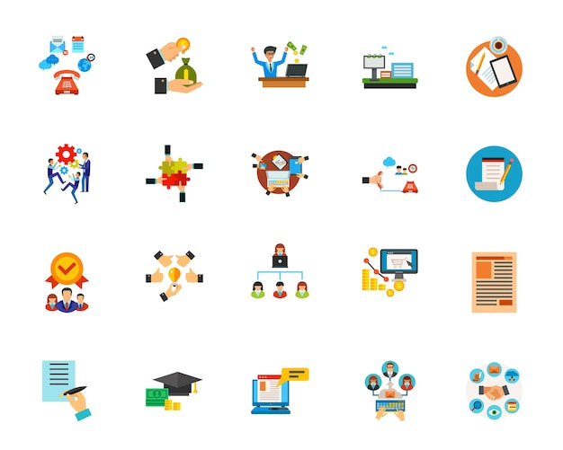 Conjunto de iconos de comunicación empresarial vector gratuito